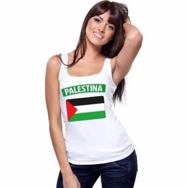 Singlet shirt/ t shirt zonder mouw palestijnse vlag wit dames