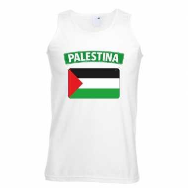 Singlet shirt/ t shirt zonder mouw palestijnse vlag wit heren