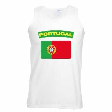 Singlet shirt/ t shirt zonder mouw portugese vlag wit heren
