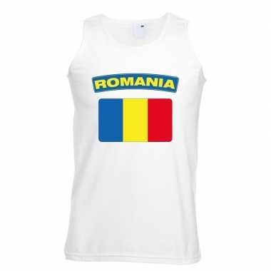 Singlet shirt/ t shirt zonder mouw roemeense vlag wit heren