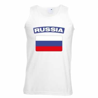 Singlet shirt/ t shirt zonder mouw russische vlag wit heren