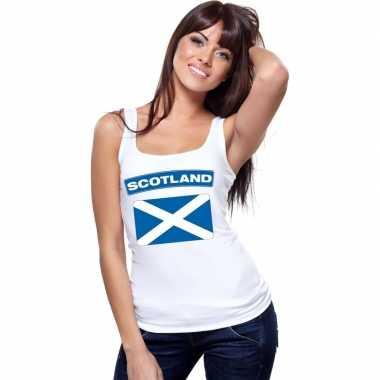 Singlet shirt/ t shirt zonder mouw schotse vlag wit dames