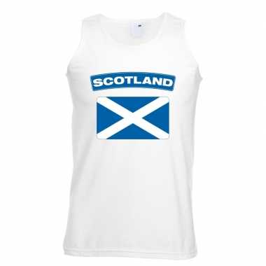 Singlet shirt/ t shirt zonder mouw schotse vlag wit heren