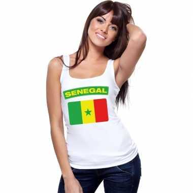 Singlet shirt/ t shirt zonder mouw senegalese vlag wit dames