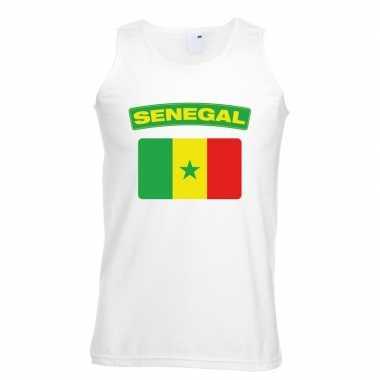 Singlet shirt/ t shirt zonder mouw senegalese vlag wit heren