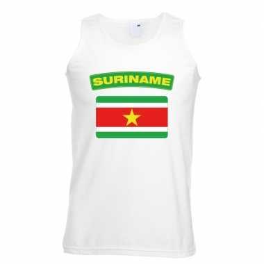 Singlet shirt/ t shirt zonder mouw surinaamse vlag wit heren
