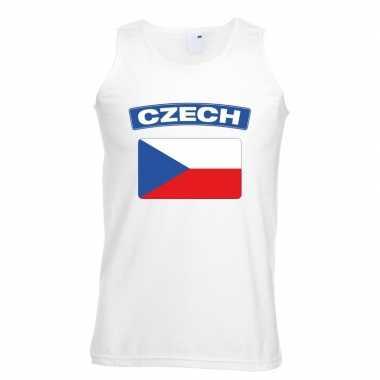 Singlet shirt/ t shirt zonder mouw tsjechische vlag wit heren