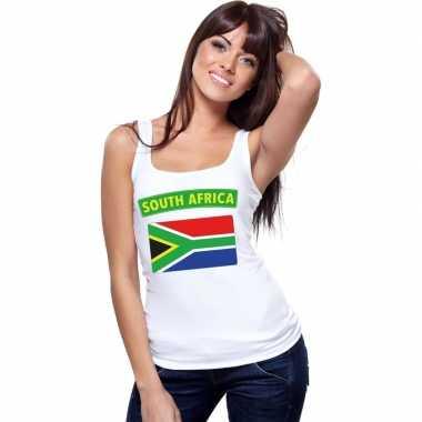 Singlet shirt/ t shirt zonder mouw zuid afrikaanse vlag wit dames