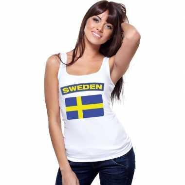 Singlet shirt/ t shirt zonder mouw zweedse vlag wit dames