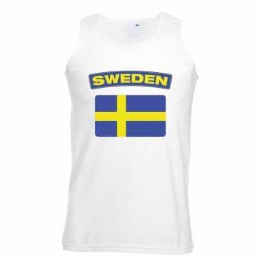 Singlet shirt/ t shirt zonder mouw zweedse vlag wit heren