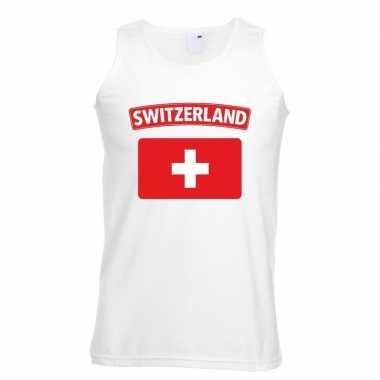 Singlet shirt/ t shirt zonder mouw zwitserse vlag wit heren