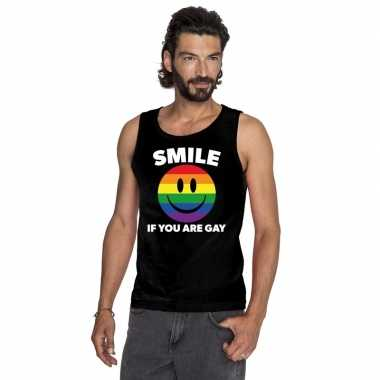 Smile if you are gay emoticon t shirt zonder mouw/ singlet shirt zwar