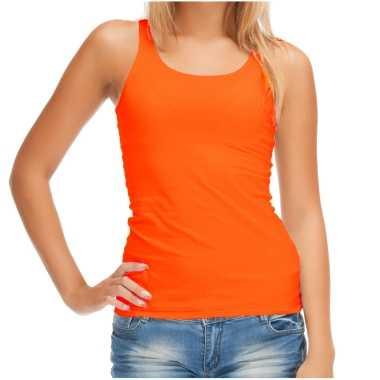 Sols oranje t shirt zonder mouw / hemdje / singlet dames