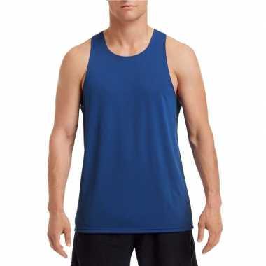 Sport singlet kobalt blauw heren zonder mouw