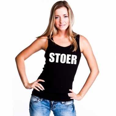 Stoer tekst singlet shirt/ t shirt zonder mouw zwart dames