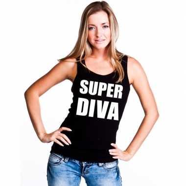 Super diva tekst singlet shirt/ t shirt zonder mouw zwart dames