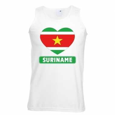 Suriname hart vlag singlet shirt/ t shirt zonder mouw wit heren