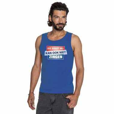 T shirt zonder mouw / mouwloos kan ook niet zingen shirt blauw heren