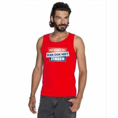 T shirt zonder mouw / mouwloos kan ook niet zingen shirt rood heren