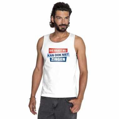 T shirt zonder mouw / mouwloos kan ook niet zingen shirt wit heren