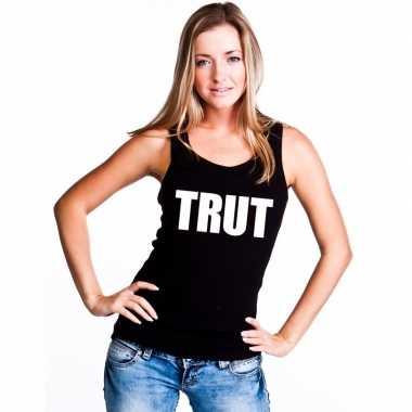 Trut tekst singlet shirt/ t shirt zonder mouw zwart dames