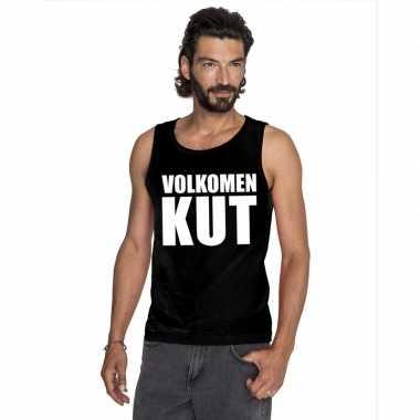 Volkomen kut tekst singlet shirt/ t shirt zonder mouw zwart heren