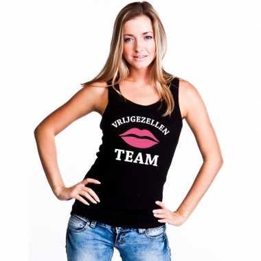 Vrijgezellenfeest team singlet shirt/ t shirt zonder mouw zwart dames