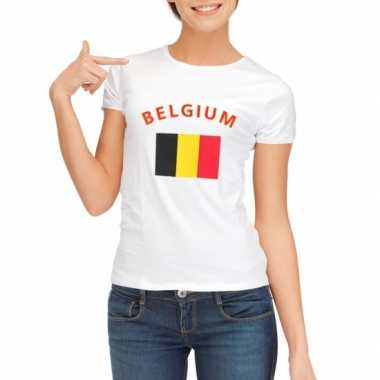 Wit dames t-shirt Belgie zonder mouw