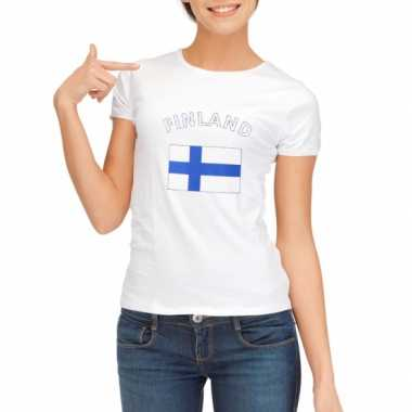 Wit dames t-shirt Finland zonder mouw