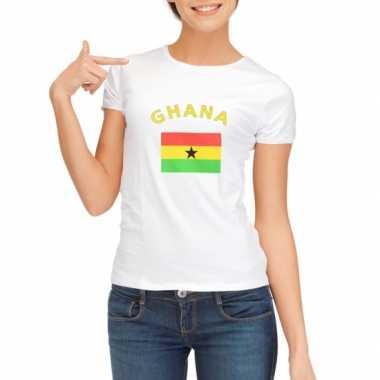 Wit dames t-shirt Ghana zonder mouw