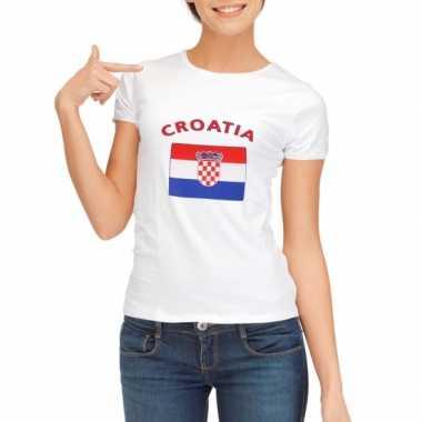 Wit dames t-shirt Kroatie zonder mouw