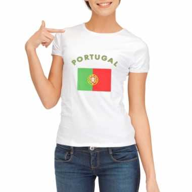 Wit dames t-shirt Portugal zonder mouw