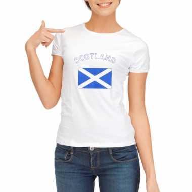 Wit dames t-shirt Schotland zonder mouw