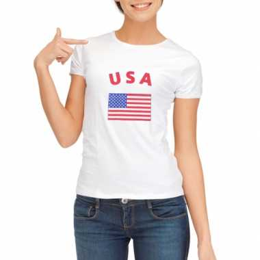 Wit dames t-shirt USA zonder mouw