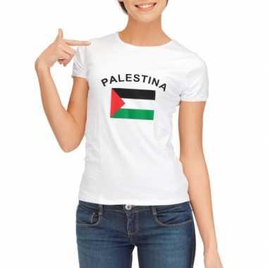 Wit dames t-shirt vlag Palestina zonder mouw