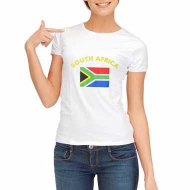 Wit dames t-shirt Zuid-Afrika zonder mouw
