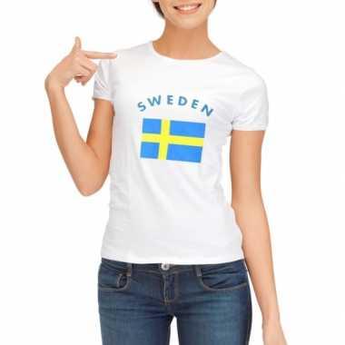 Wit dames t-shirt Zweden zonder mouw