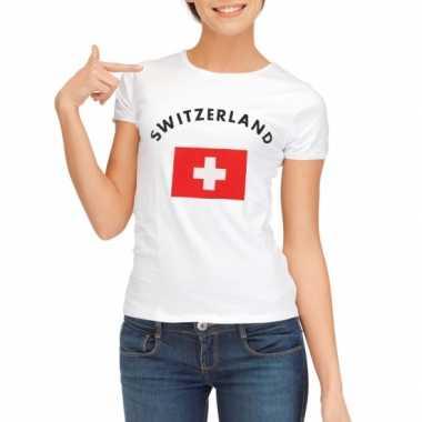 Wit dames t-shirt Zwitzerland zonder mouw