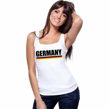 Wit duitsland supporter singlet shirt/ t shirt zonder mouw dames