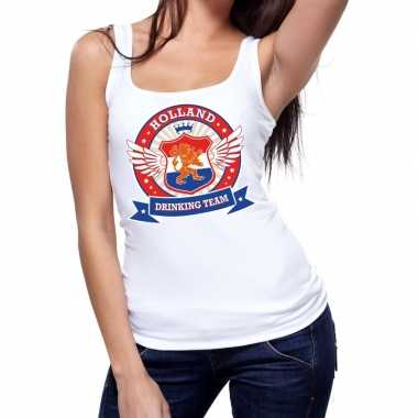 Wit holland drinking team t shirt zonder mouw / mouwloos shirt dames