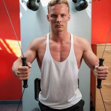 Wit sport/fitness shirt/t shirt zonder mouw heren