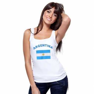 Witte dames t-shirt zonder mouw Argentinie
