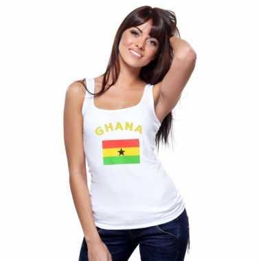 Witte dames t-shirt zonder mouw Ghana