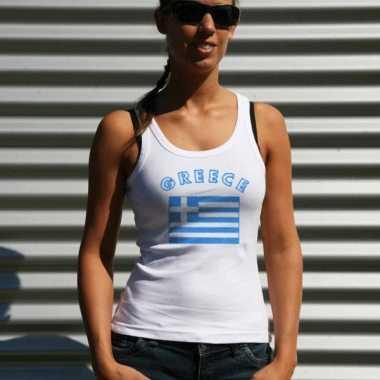 Witte dames t-shirt zonder mouw Griekenland