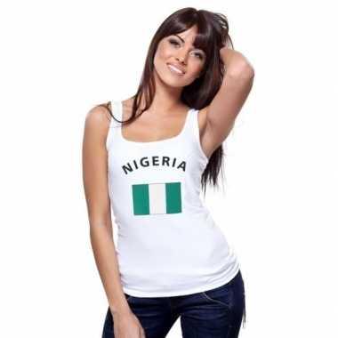 Witte dames t-shirt zonder mouw Nigeria