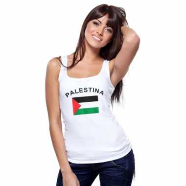 Witte dames t-shirt zonder mouw Palestina