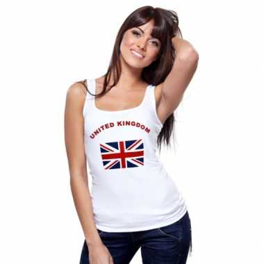 Witte dames t-shirt zonder mouw United Kingdom