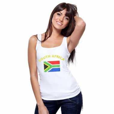 Witte dames t-shirt zonder mouw Zuid-Afrika