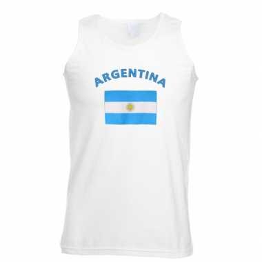 Witte heren t-shirt zonder mouw Argentinie
