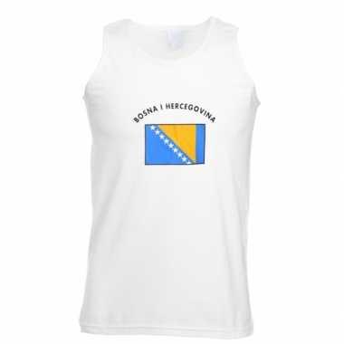 Witte heren t-shirt zonder mouw Bosnie Herzegovina